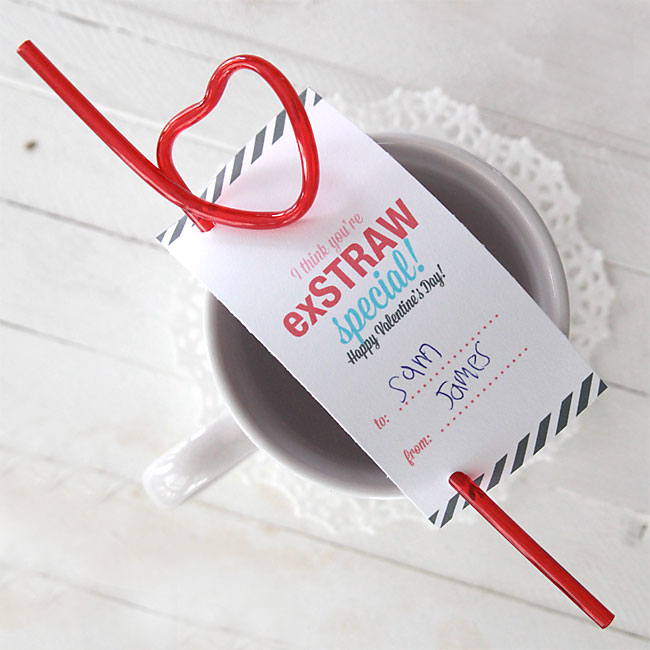"""you're exSTRAW special"" easy printable Valentine's Day card"
