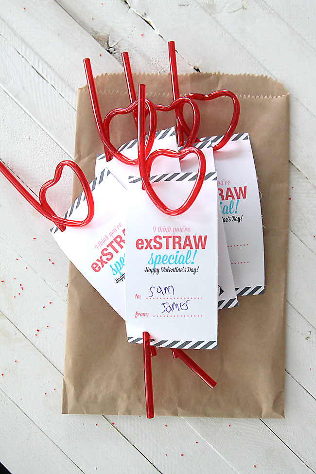 valentines day straws with printable tags that say exstraw special