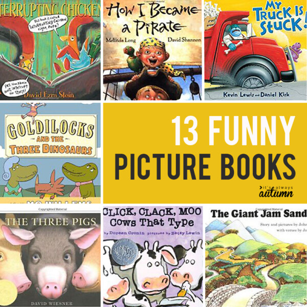collage of funny picture books