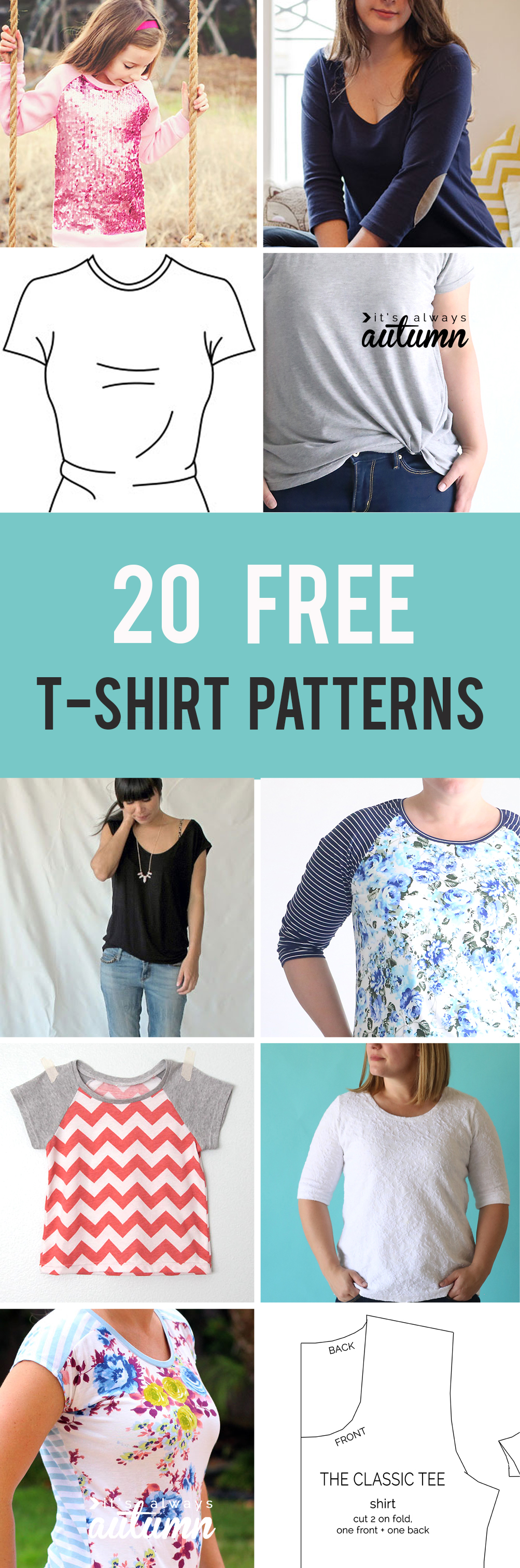 20 free t-shirt patterns you can print and sew at home! Free sewing patterns for women's t-shirts, kids t-shirts, mens t-shirts.