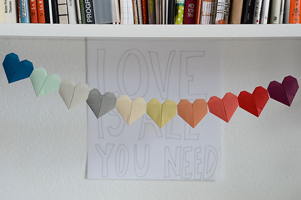 Origami hearts made into a garland