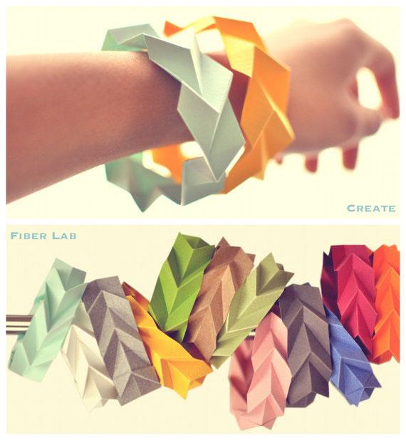 Origami bracelets in many colors