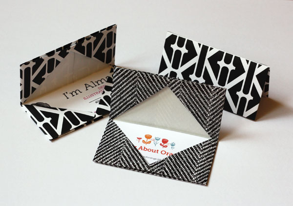 Folded origami business card holders