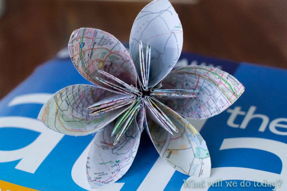 Origami flower made from map paper