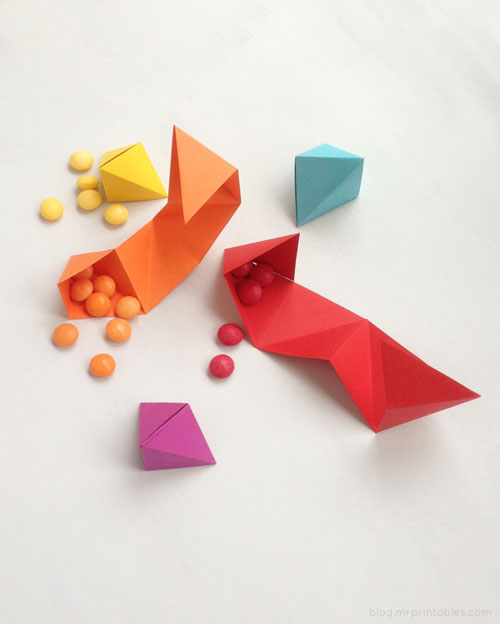 Little origami pyramid boxes in rainbow colors