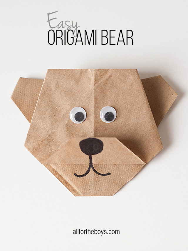 Origami bear made from a lunch sack