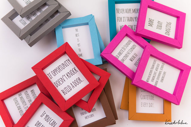 Small folded picture frames with quotes inside