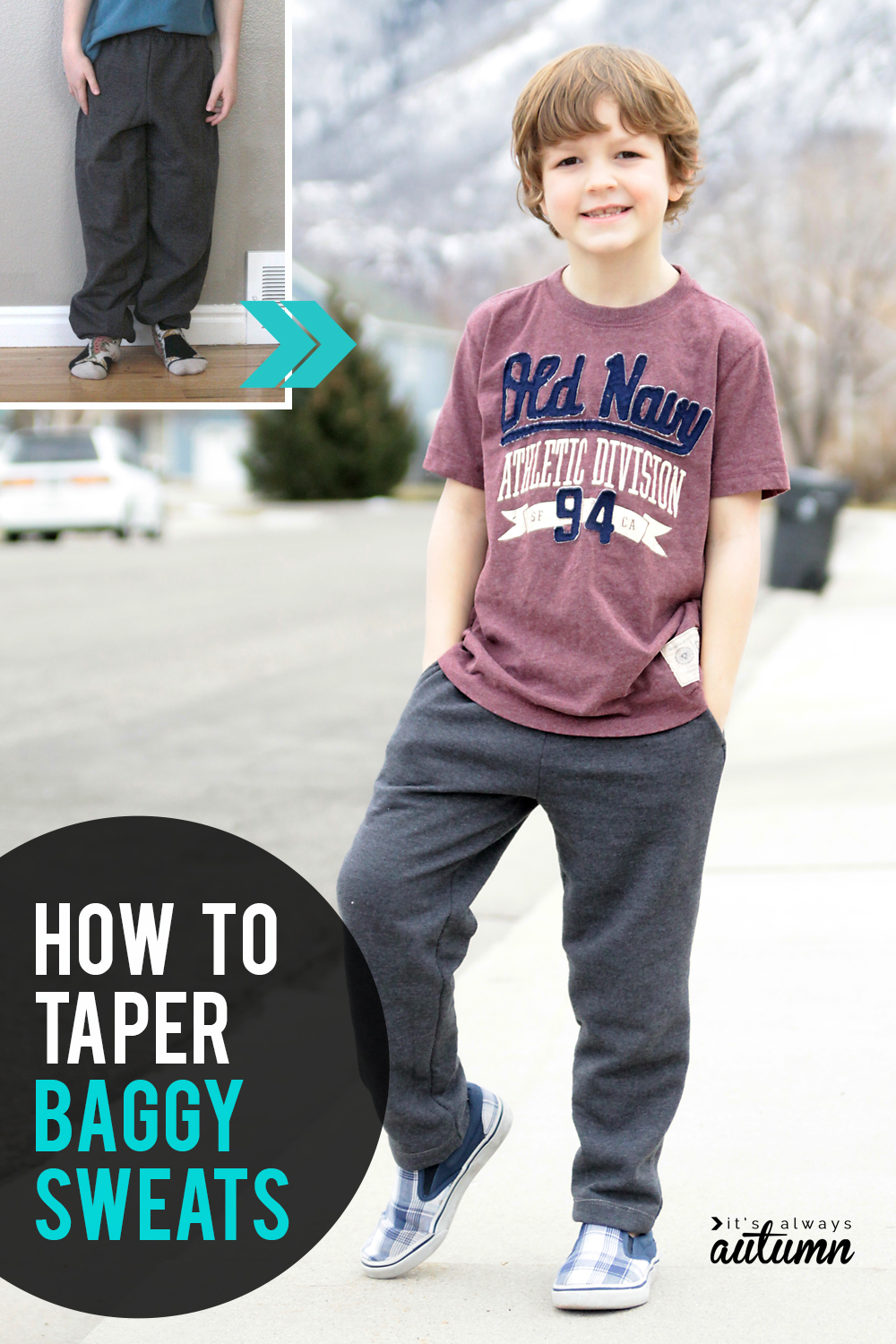 How to taper baggy sweatpants! Easy sewing tutorial for giving old baggy sweatpants a slimmer fit.