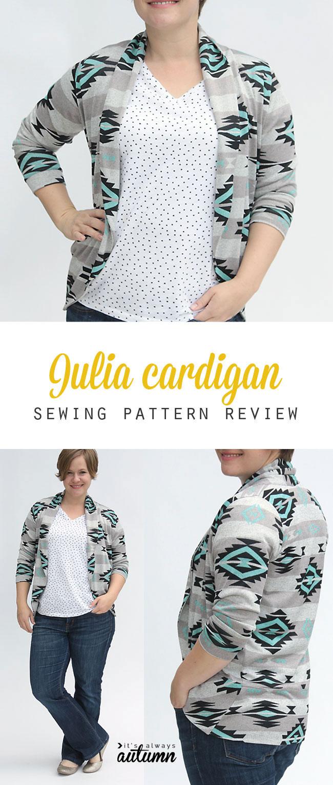 A woman wearing the julia cardigan sewing pattern