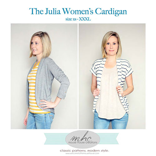 woman modeling the Julia Women\'s cardigan sewing pattern
