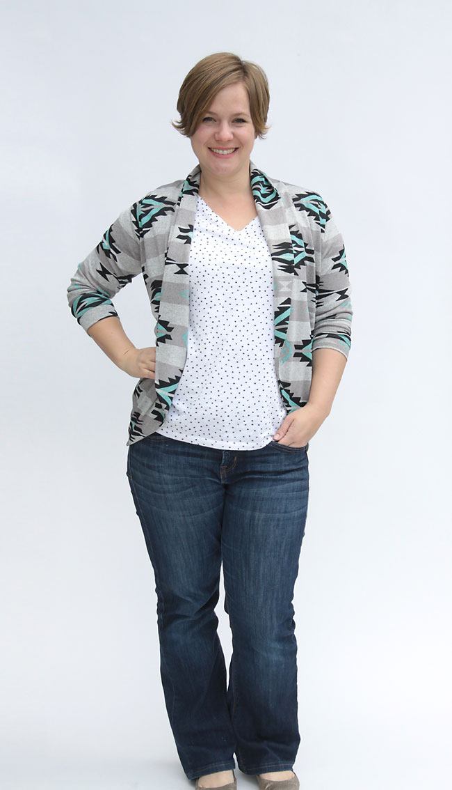 how to make a pretty navajo tribal knit cardigan using the Julia Cardigan sewing pattern