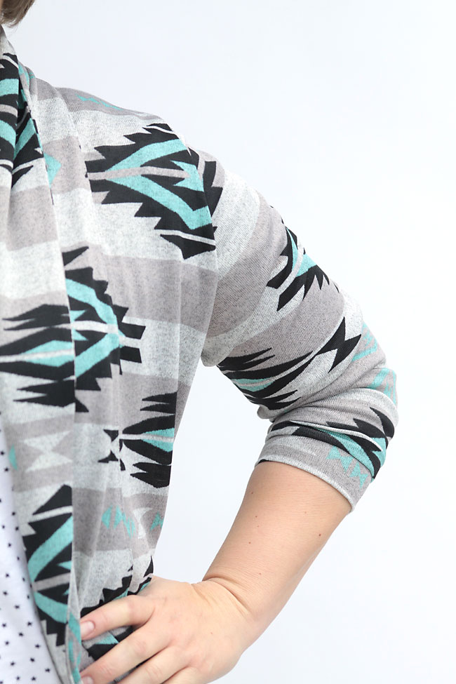 closeup of cardigan sleeve