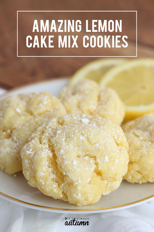 Lemon cake mix cookies on a plate