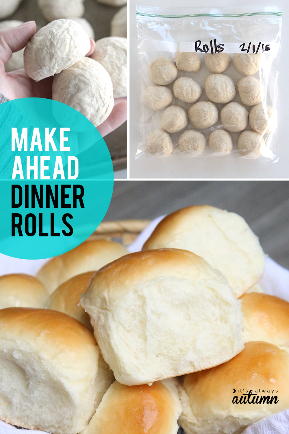 Make ahead dinner rolls recipe! How to make roll dough in advance and freeze it to bake later. Perfect for holiday dinners!