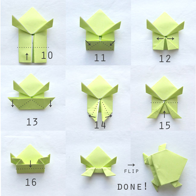 Folding instructions for origami frog