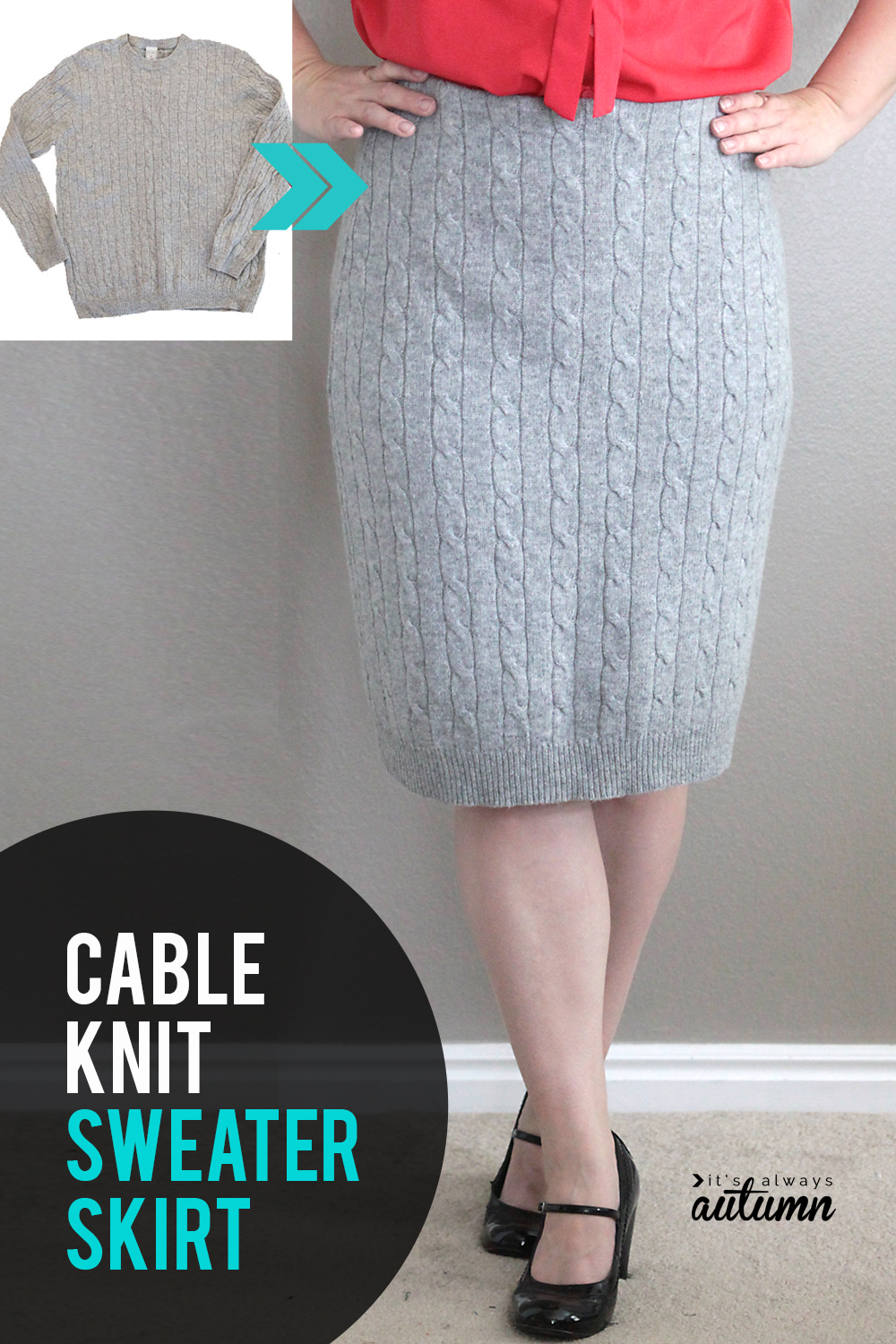 How to refashion a cable knit sweater into a cute cable knit skirt! Easy sewing tutorial.