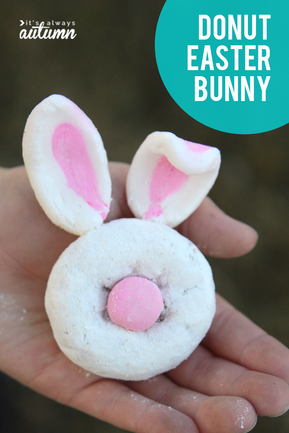 Donut Easter bunnies! Fun Easter food craft for kids.
