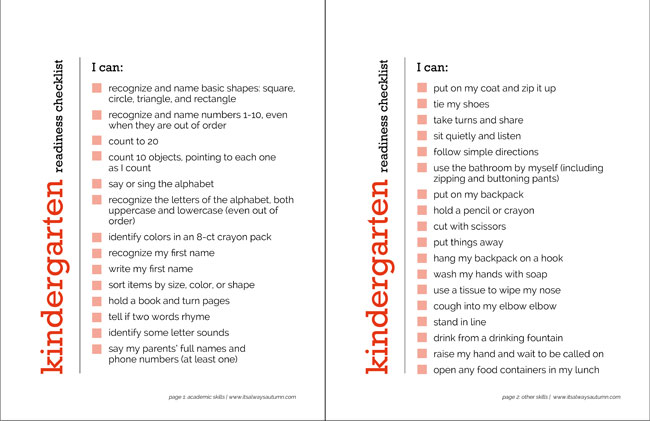 free printable kindergarten readiness checklist - what does my child need to know before kindergarten?