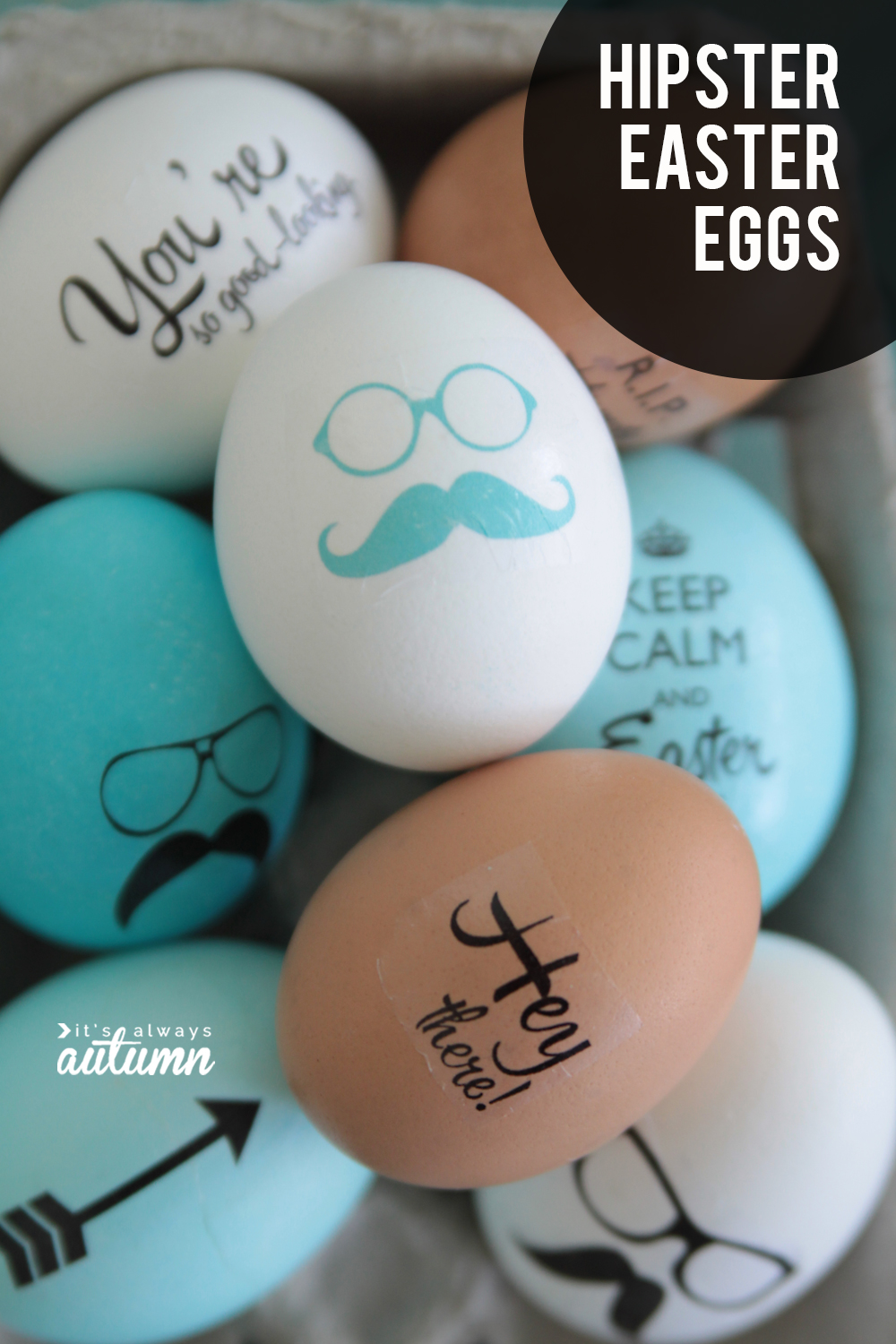 Decorate Easter eggs with cute hipster sayings using temporary tattoo paper!