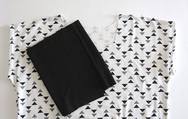 patterned fabric cut in t-shirt shape and black knit fabric