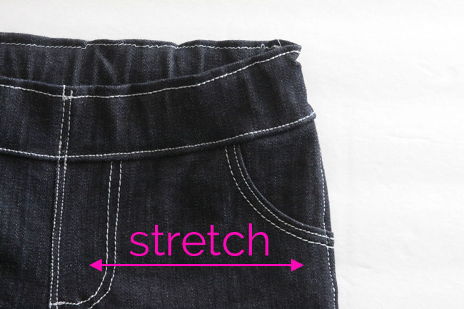 A close up of skinny jeans showing stretch from side to side