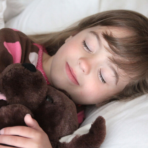 A little girl asleep in bed with a stuffed animals