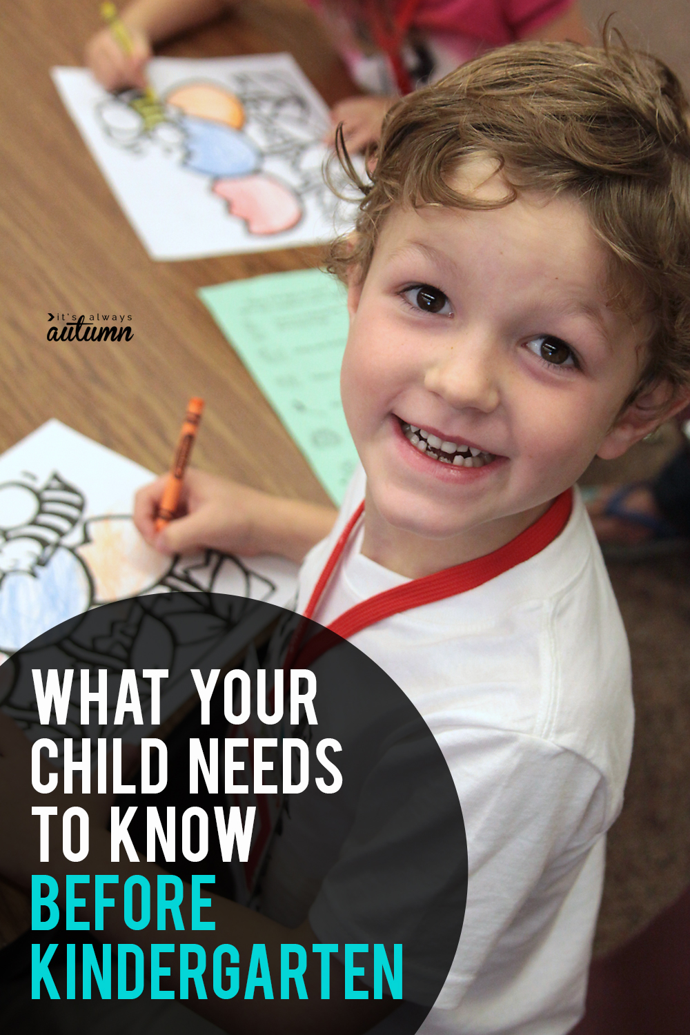 Click through to find out what your child should know before kindergarten! Printable school readiness checklists.