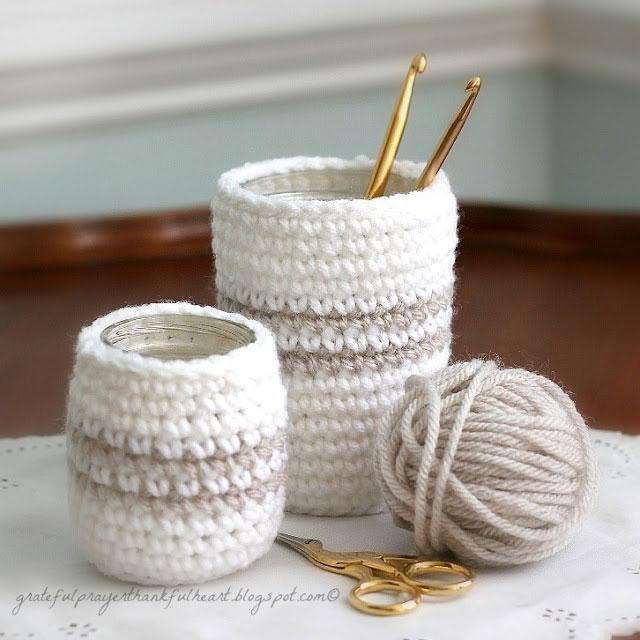 Crochet baskets with crochet hooks in them