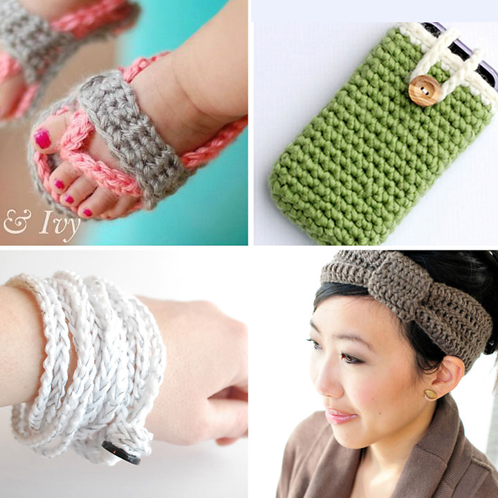 Collage of easy beginner crochet projects