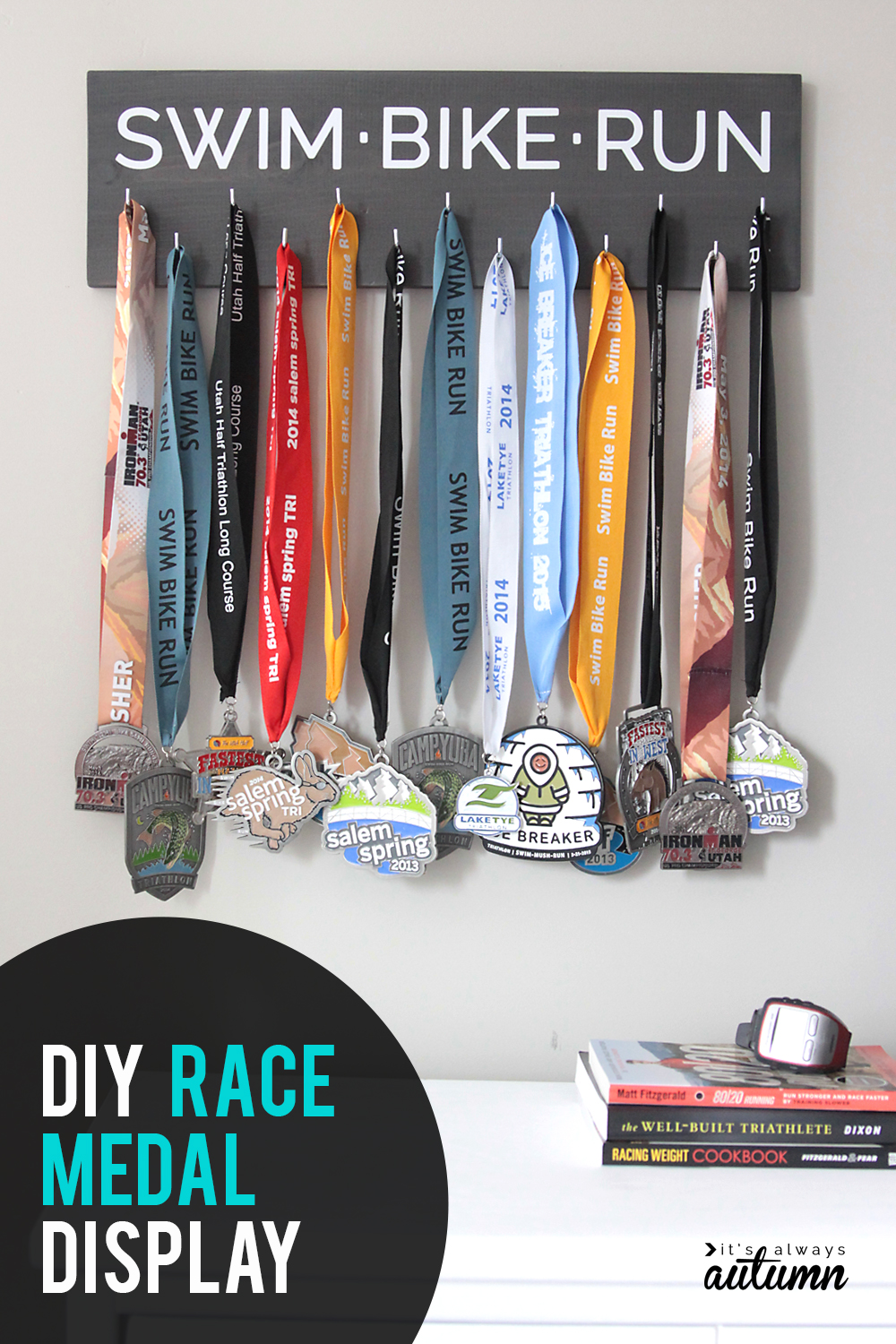 Show off your medals with this DIY race medal display. Perfect handmade gift for runners, triathletes, and more! Click through for easy instructions.