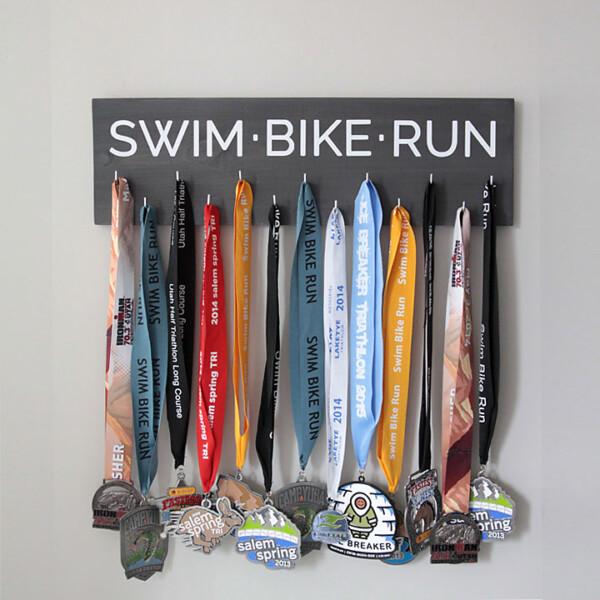 A race medal display