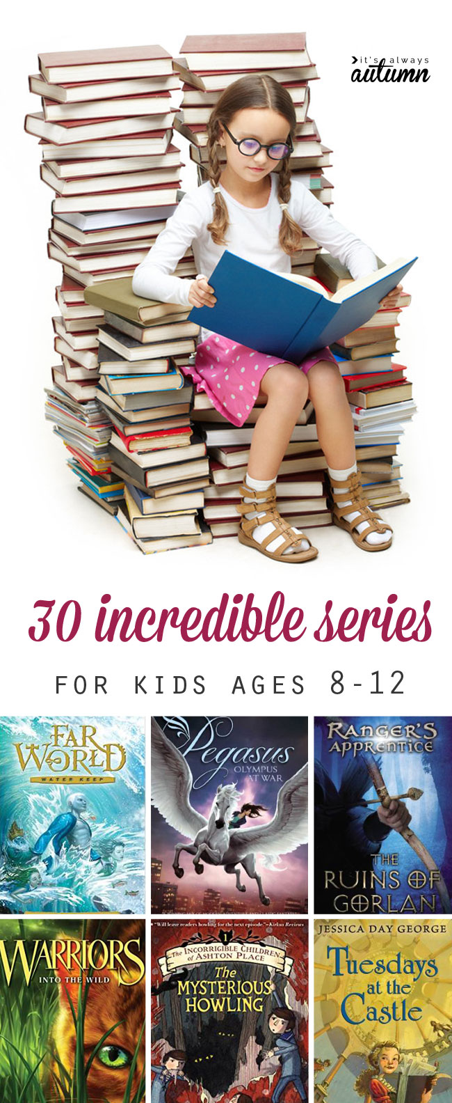 This is a great list of fantastic book series for kids ages 8-12. great books to put on the summer reading list!