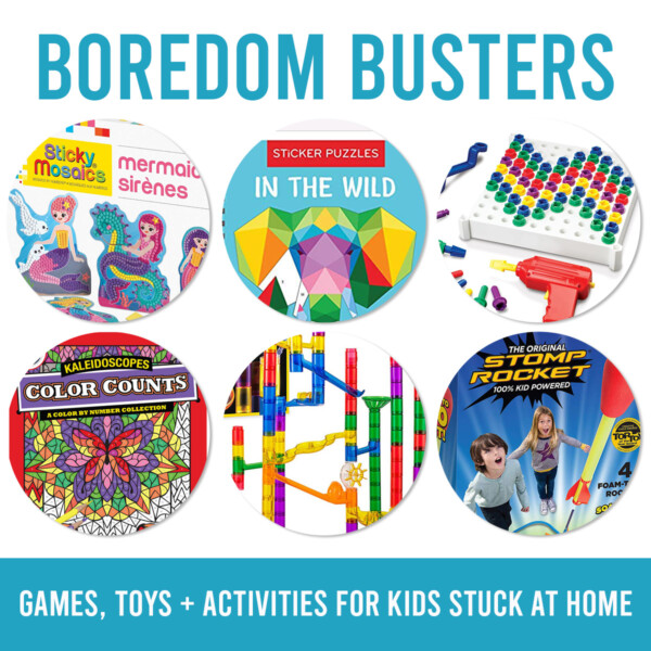 Collage photo of different toys and books with words: boredom busters, games, toys + activities for kids stuck at home