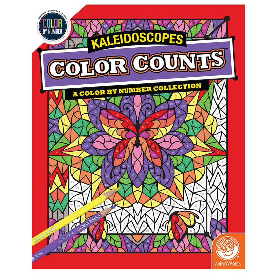 Color counts kaleidoscopes book with intricate flower coloring page
