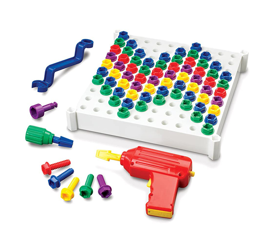A colorful drill toy with toy screws