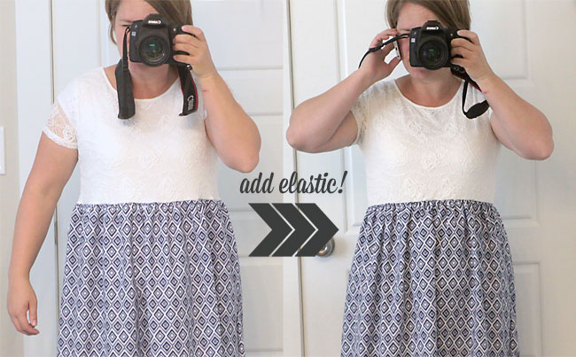 A person standing in front of a mirror posing for the camera, showing the difference between elastic and no elastic in the dress waist
