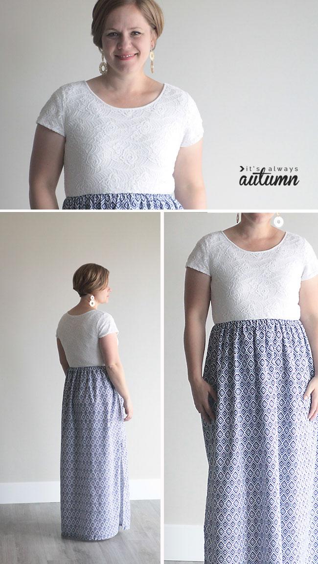 A woman wearing a maxi dress made by adding a skirt to a t-shirt