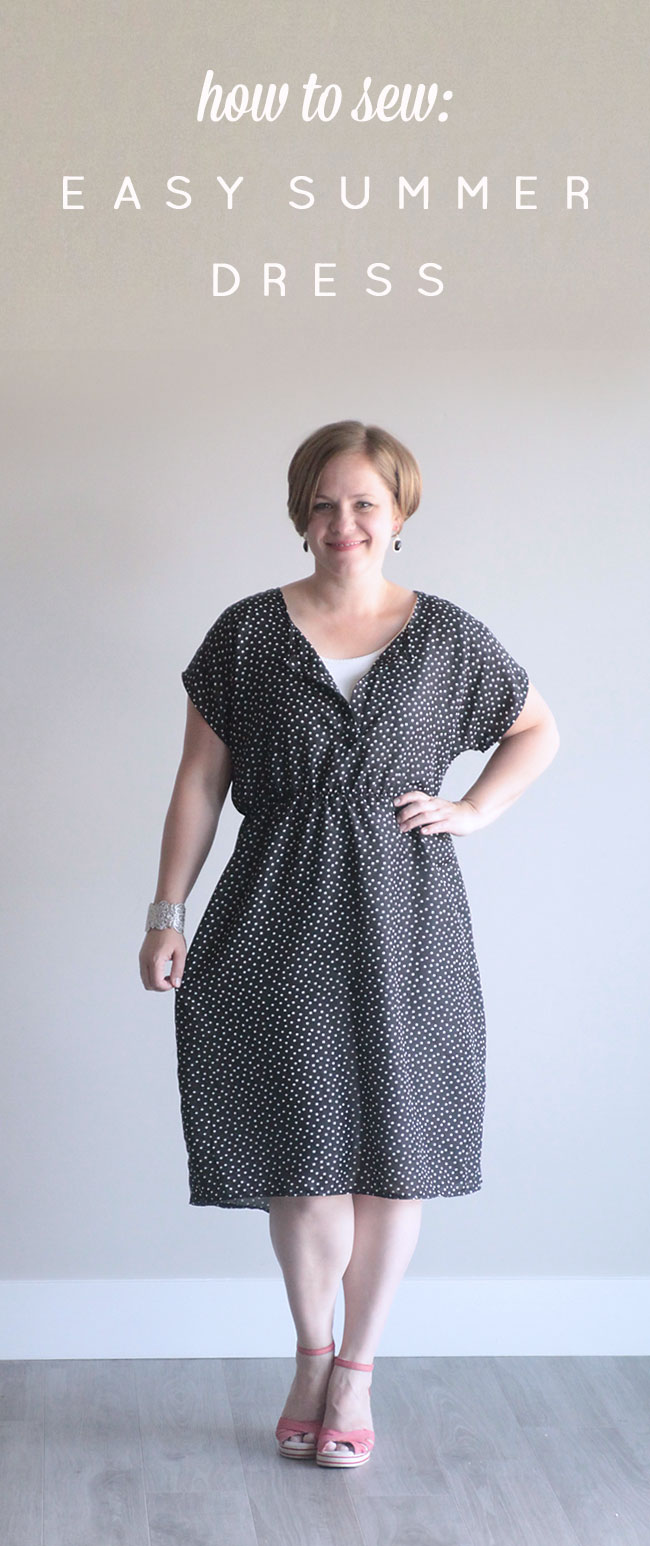 A woman wearing a dress with a gathered waist