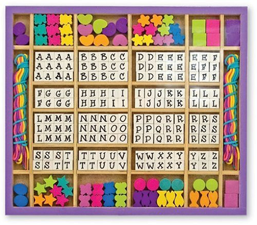 Set of colored beads and alphabet beads