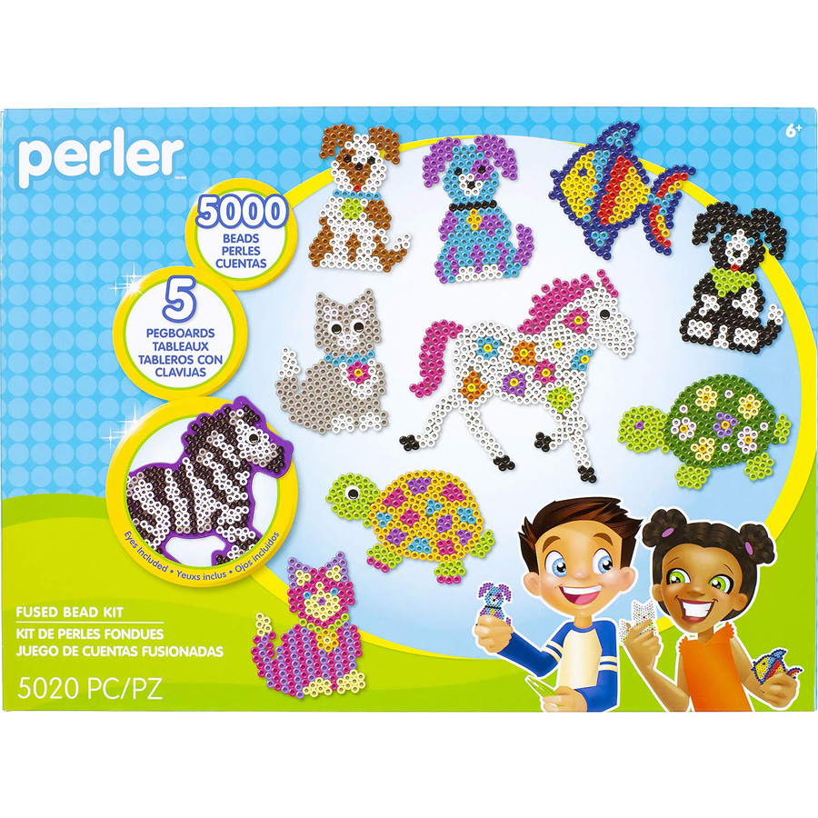Perler beads package showing pictures of animals made with perler beads