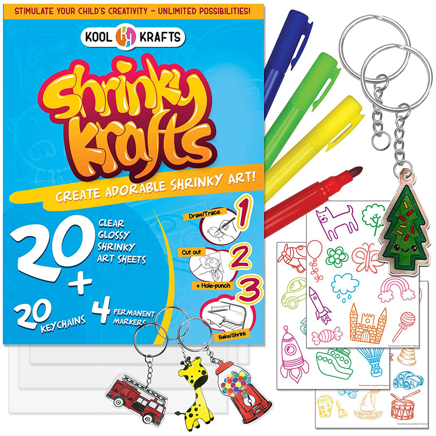 Shrinky krafts paper set with pens and ketchains