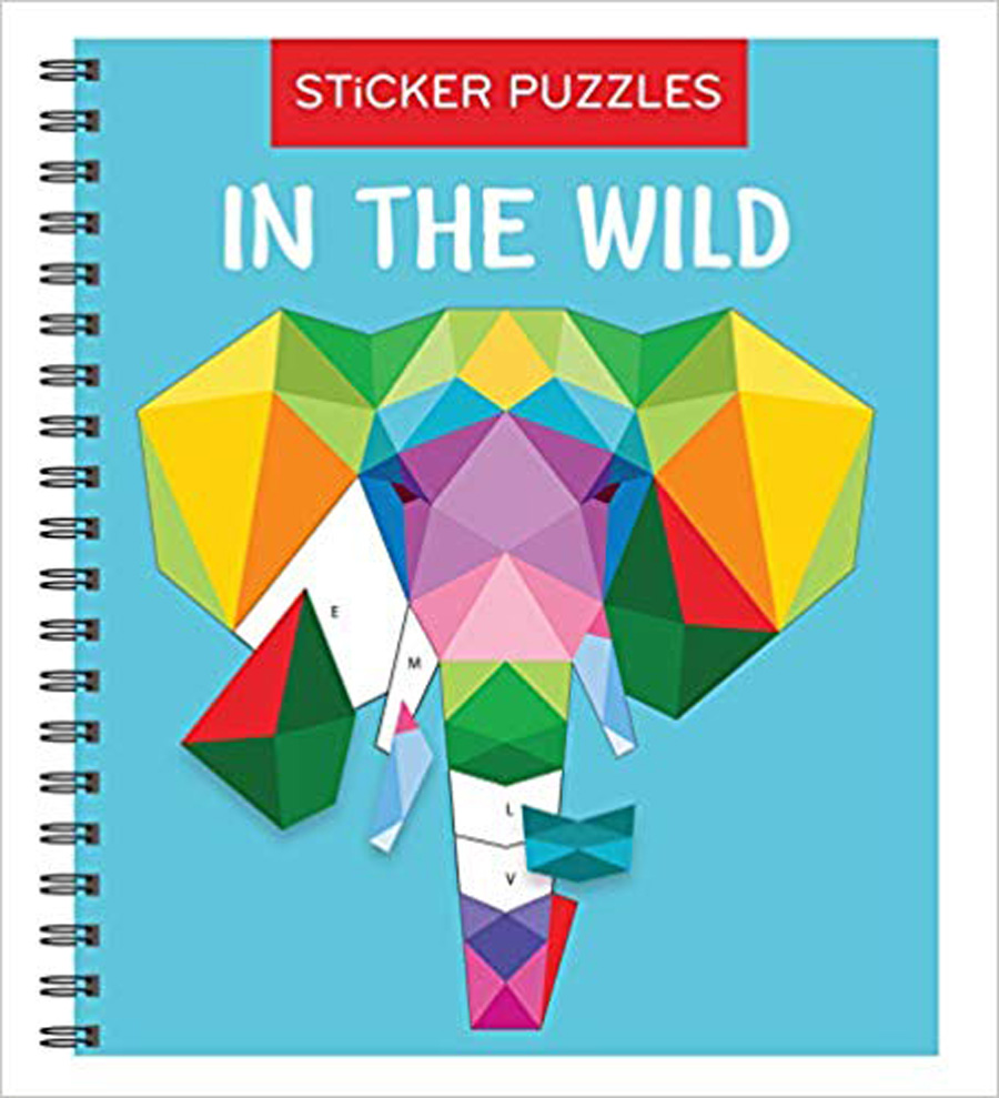 Sticker puzzles in the wild book with multicolored elephant made from stickers