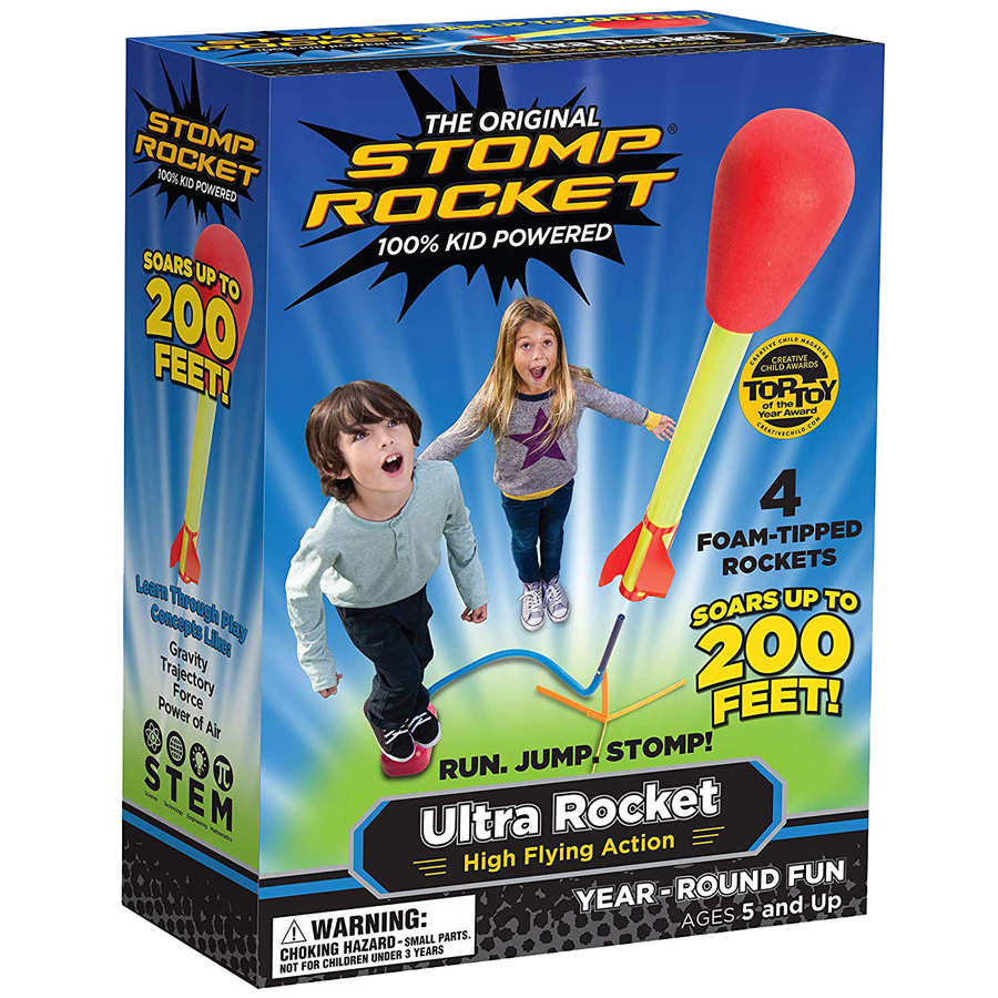 The Original Stomp rocket box with photo of children and flying rocket