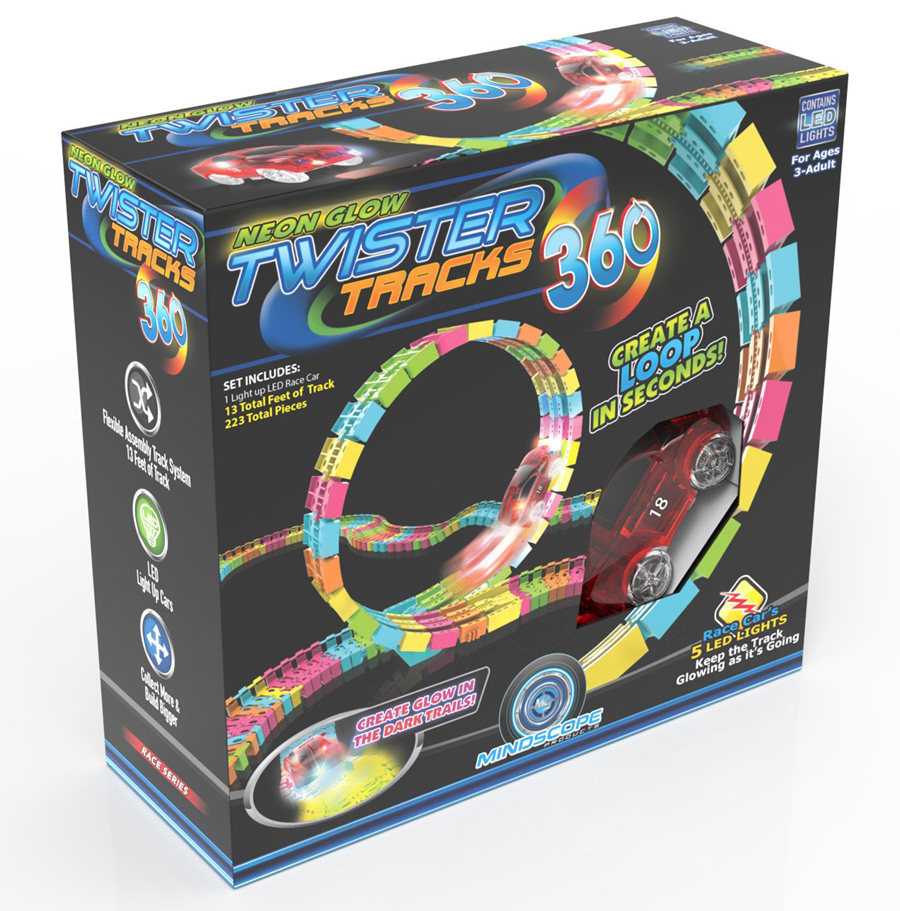Twister tracks 360 track building set and toy cars