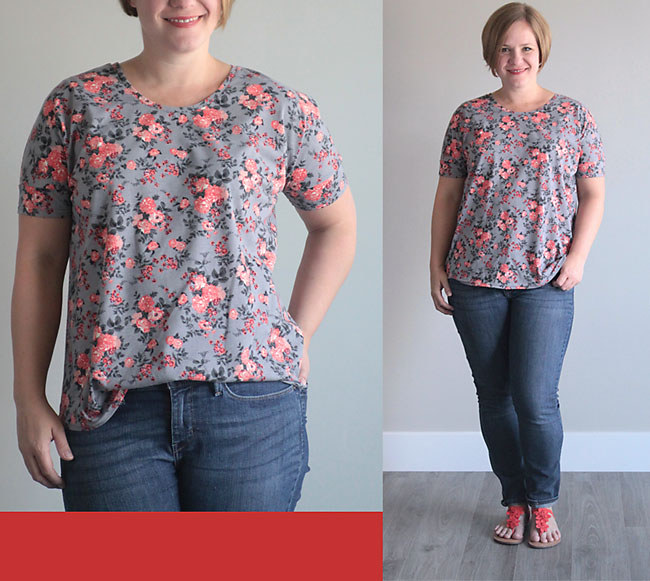 A woman wearing a t-shirt made from the breezy tee sewing pattern