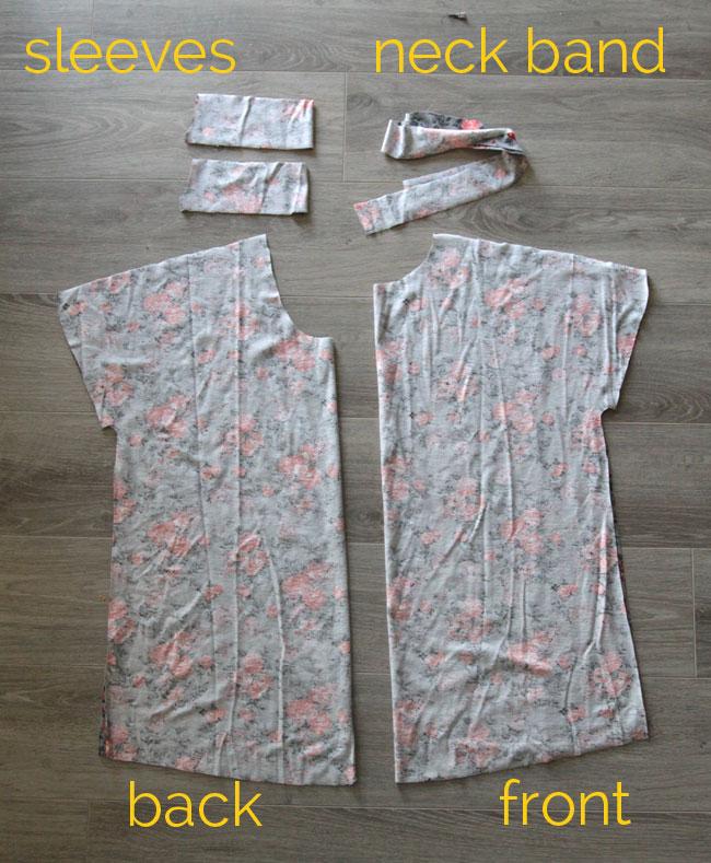 Breezy tee pattern pieces: shirt front, shirt back, sleeve bands, neckbinding