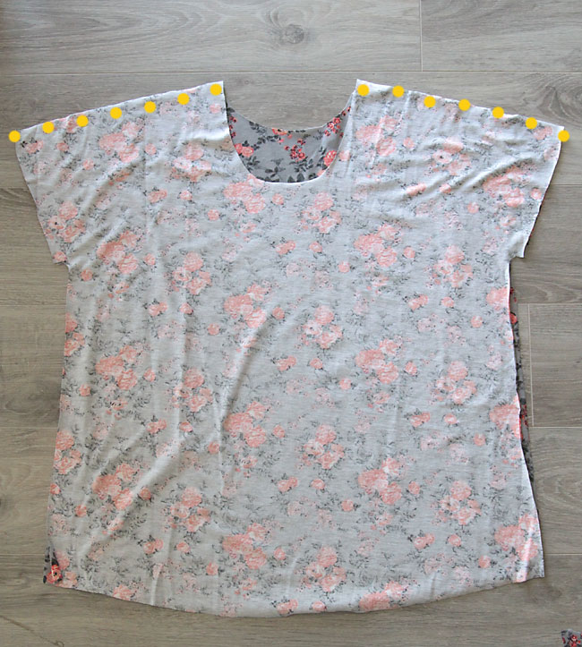 Breezy tee front and back with shoulder seams marked