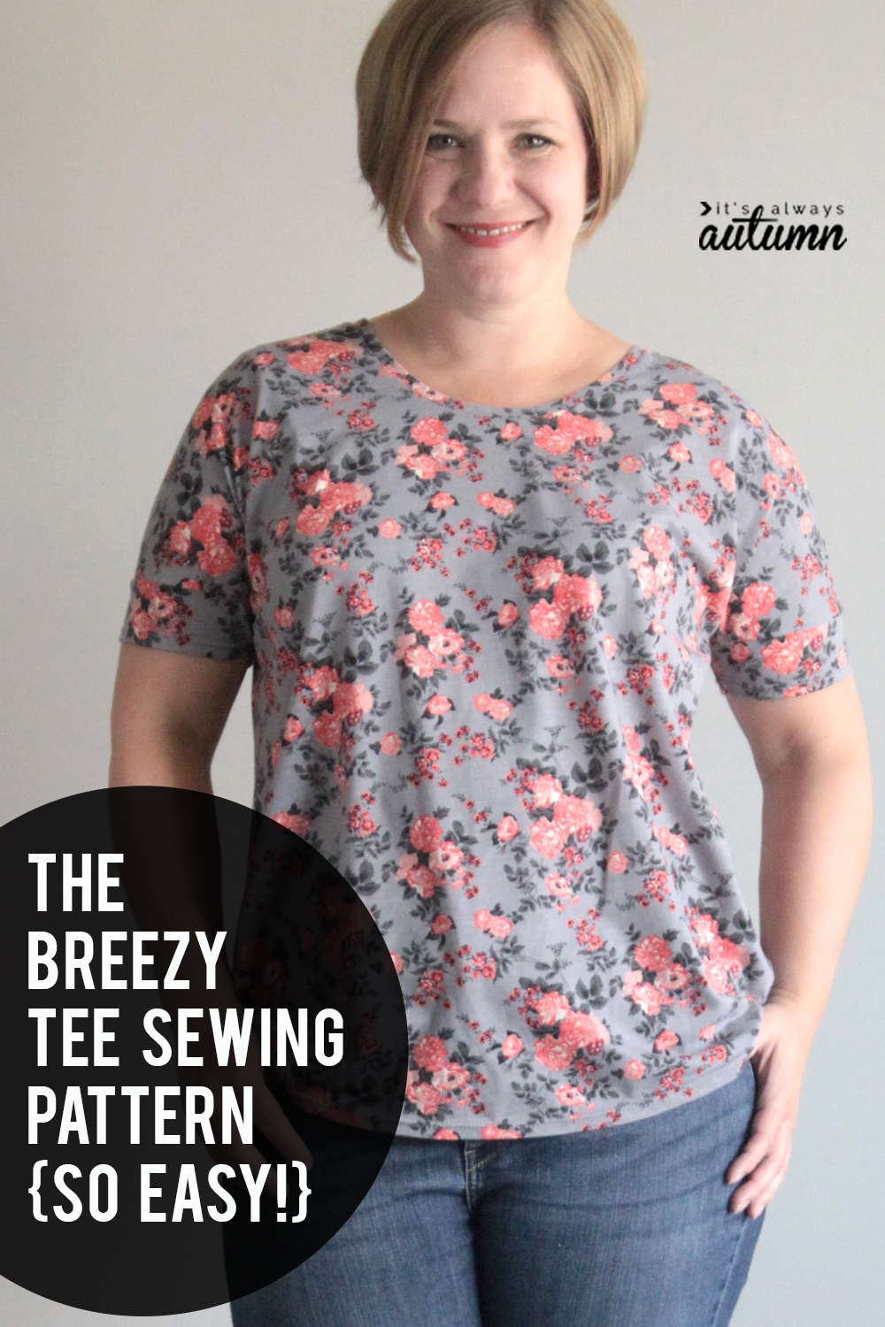 This free t-shirt sewing pattern is super easy! How to sew a comfortable tee.