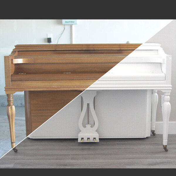 Before and after of wood piano getting painted white