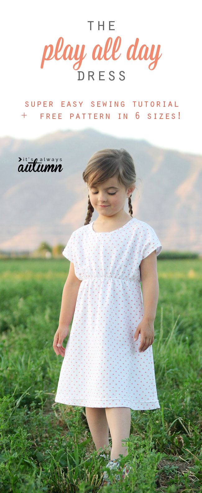 A little girl wearing the play all day dress made from a easy pdf sewing pattern